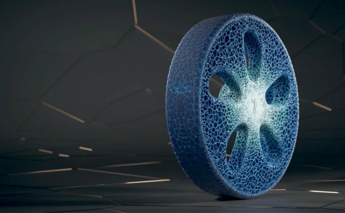 米其林带来了一款蓝色的轮胎,不用充气而且还是 3D 打印